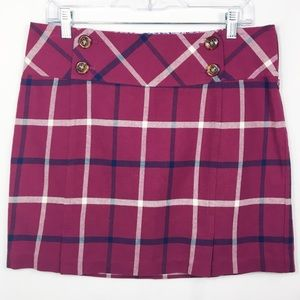 Vineyard Vines mini skirt purple pink plaid s10